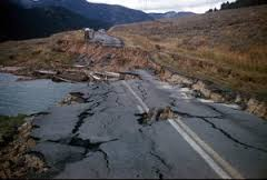 earthquake fissures in road