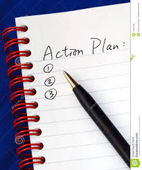 Action plan with tablet and pen