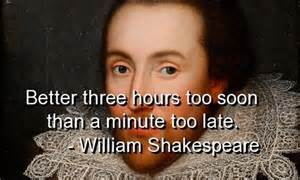 Shakespear minute too late
