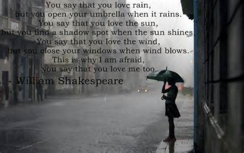 Shakespeare quote with umbrella