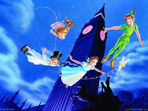 Peter Pan and three flying