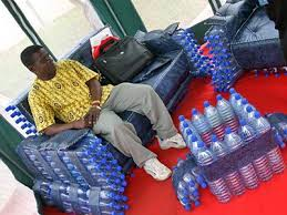 Plastic bottle couch