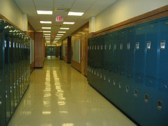 high school lockers in hall