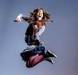 Lindsey Stirling in midair
